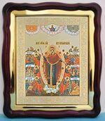 Всех скорбящих радость с грошиками Б.М., в фигурном киоте, с багетом. Большая аналойная икона (28 Х 32)