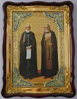 Сергий Радонежский и Серафим Саровский, в фигурном киоте, с багетом. Храмовая икона (60 Х 80)