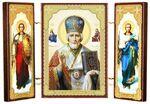 Складень МДФ (6), тройной, Николай Чудотворец с архангелами, 13 Х 8 см.