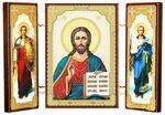 Складень МДФ (2), тройной, Спаситель с архангелами, 13 Х 8 см.