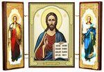 Складень МДФ (15), тройной, Спаситель с архангелами, 21 Х 12 см.