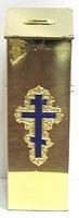 Кружка для сбора пожертвований, напольная квадратная, с литым крестом, замком и ручками, с задней дверкой (ЛУ)
