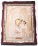 Казанская Б.М., тёмный фигурный киот, с багетом. Храмовая икона (44 Х 57)