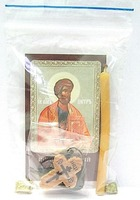 Апостол Петр. Набор для домашней молитвы (Zip-Lock). Лик, молитва, свечка, ладан, крестик