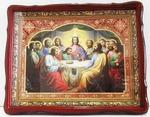 Тайная вечеря, в фигурном киоте, с резным багетом. Храмовая икона (39 Х 48)