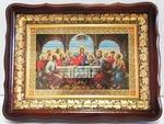 Тайная вечеря, тёмнй фигурный киот, багет виноград. Храмовая икона (41 Х 31)