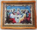 Тайная вечеря, в фигурном киоте, с багетом, имитация холста. Храмовая икона (39 Х 48)
