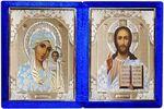 Складень бархат (Б-1518-ГЛ-1-СБО) цвет синий, белое одеяние, лик 15Х18