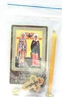 Киприан и Устинья (от колдовства и чародейства). Набор для домашней молитвы (Zip-Lock). Лик, молитва, свечка, ладан, крестик