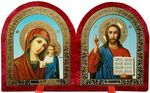 Складень бархат, арочный (Б-12-В-1-КГФ) цвет красный, голубой фон, лик 15Х18