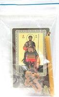 Иоанн Воин. Святой мученик. Набор для домашней молитвы (Zip-Lock). Лик, молитва, свечка, ладан, крестик