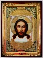 Спас Нерукотворный, в прямом киоте, с багетом. Храмовая икона (58 Х 79)