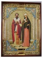 Киприан и Устинья, в прямом киоте, с багетом. Храмовая икона (58 Х 79)