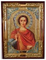 Дмитрий Солунский (зел.тун), в прямом киоте, с багетом. Храмовая икона (58 Х 79)