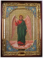 Ангел Хранитель, в прямом киоте, с багетом. Храмовая икона (58 Х 79)