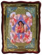 Неопалимая Купина Б.М., в фигурном киоте, с багетом. Храмовая икона (60 Х 80)