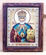 Николай Чудотворец, Икона Византикос, полуоклад, 12Х14
