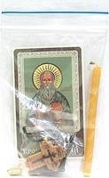 Иоанн Кронштадский. Святой праведный. Набор для домашней молитвы (Zip-Lock). Лик, молитва, свечка, ладан, крестик