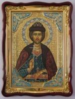 Игорь, Св.князь, в фигурном киоте, с багетом. Храмовая икона (60 Х 80)