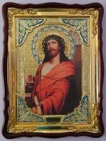Спаситель в терновом венце, в фигурном киоте, с багетом. Храмовая икона (60 Х 80)