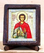 Виталий Св.Мч., Икона Византикос, полуоклад, 8Х6