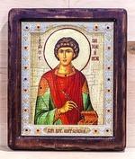 Пантелеймон, Икона Византикос, полуоклад, 12Х14