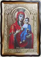 Иверская Б.М., в фигурном киоте, с багетом. Храмовая икона 60 Х 80 см.