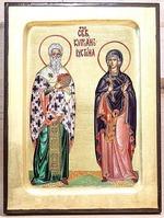 Киприан и Устиния, икона Греческая, 17 Х 23