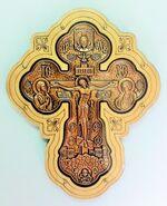 Крест подвесной деревянный (12) JERUSALEM, керамический, большой фигурный, цвет медь