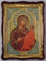 Тихвинская Б.М., в фигурном киоте, с багетом. Храмовая икона (60 Х 80)