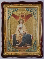 Евангелист Матфей, в фигурном киоте, с багетом. Храмовая икона (60 Х 80)