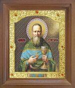 Иоанн Кронштадтский. Икона в деревянной рамке с окладом (Д-26псо-128)