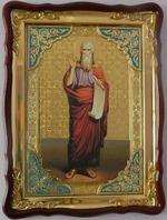 Илья Пророк, рост (кр. од, свиток), в фигурном киоте, с багетом. Храмовая икона (60 Х 80)
