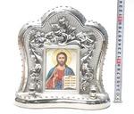 Спаситель, керамика, икона большая, цвет серебро (СА).