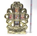Иконостас большой, керамика, крест, 5 ликов, цвет золото (СА).