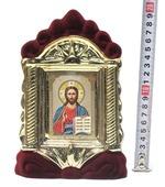 Спаситель, керамика, икона средняя, флокированная, цвет бордовый - золото (СА).