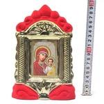 Казанская Б.М., керамика, икона средняя, флокированная, цвет красный - золото (СА).