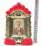 Николай Чудотворец, керамика, икона средняя, флокированная, цвет красный - золото (СА).