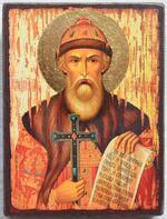 Владимир, Св.Князь (пояс), икона под старину JERUSALEM панорамная, с клиньями (13 Х 17)