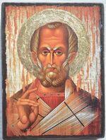 Николай Чудотворец (красное одеяние), икона под старину JERUSALEM прямая (13 Х 17)