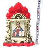 Спаситель, керамика, икона большая купола, флокированная, цвет красный - золото (СА).