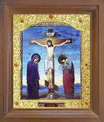 Голгофа. Икона в деревянной рамке с окладом (Д-26псо-146)