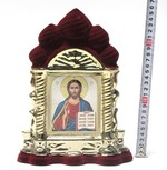 Спаситель, керамика, икона большая купола, флокированная, цвет бордовый - золото (СА).