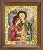 Святое семейство. Икона в деревянной рамке с окладом (Д-26псо-147)