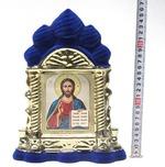 Спаситель, керамика, икона большая купола, флокированная, цвет синий - золото (СА).