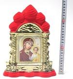 Казанская Б.М., керамика, икона большая купола, флокированная, цвет красный - золото (СА).