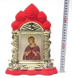 Семистрельная Б.М., керамика, икона большая купола, флокированная, цвет красный - золото (СА).