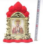 Николай Чудотворец, керамика, икона большая купола, флокированная, цвет красный - золото (СА).