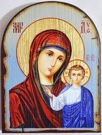 Казанская Б.М. (голубой фон), икона под старину JERUSALEM, арка (13 Х 17)