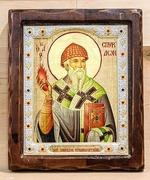 Спиридон Тримифунтский (факел), Икона Византикос, полуоклад, 12Х14
